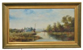 British, 20th century, Norfolk Broads with village in distance, oil on canvas, indistinctly