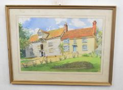 Charles Clifford Turner (British 20C) A Mill House. Pencil and watercolour heightened with