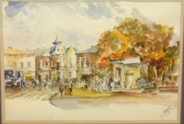An unidentified townscape with figures and traffic, pen and watercolour, indistinctly signed, 10 x