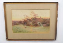 George Oyston (British 19C), A rural cottage with figures on a path. Watercolour, signed, 1911.