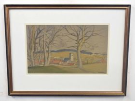 HORACE TUCK (British, 20th century), A landscape with woodland, pencil with body colour, signed,