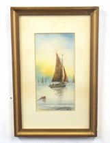 Pair of Lynn fishing boats, watercolour on paper, indistinctly signed, 10 x 5ins