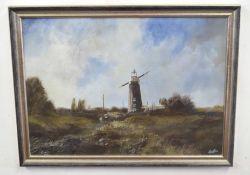 LESLIE LANG (British, 20th century), Norfolk landscape, oil on board, signed, 10 x 18ins