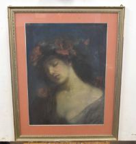 British, 20th century, A study of a lady wearing a floral head-dress, mixed media, indistinctly