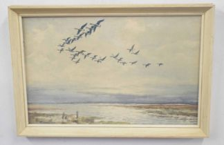 ROLAND GREEN (British, 20th century), Mallards in flight over Broads, watercolour, signed, 8 x 12.