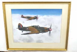 REX FLOOD (British, 20th century), Spitfires above clouds, oil on card, signed, 1967, 22 x 29ins