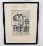 Three etchings of Norwich streetscapes, including Elm Hilland Maddermarket. Approx 9x6 (largest)