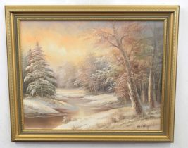 British, contemporary, A winter landscape at daybreak, oil on canvas, 15 x 20ins