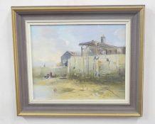 PETER METCALFE (British, 20th century), pair of contemporary Scottish harbour scenes at low tide,