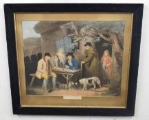 After George Morland (British, 18th century), 'Playing at dominoes', colour lithograph, 19 x 23.