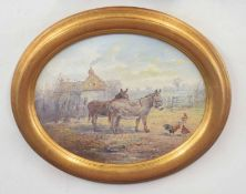 J. G. Mace (British 20C), A pair of donkeys in a farmyard. Oil on board . Approx 9x12, Oval inches.