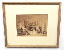 After JOHN SELL COTMAN (British, 19th century), An English 17th century interior scene, sepia on