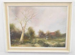 LESLIE LANG (British, 20th century), A Norfolk landscape, oil on board, 10 x 16ins