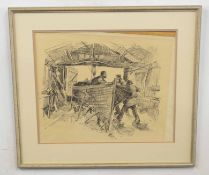 """British, 20th century, """"The Boatyard"""", pencil on paper, indistinctly signed, 14 x 17ins"""
