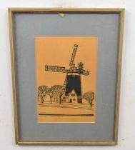 NICHOLAS BARNHAM (British, 20th century) 'Burnham Overy Mill', artist's proof, woodcut, inscribed