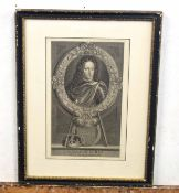 After Adriaen Van der Werf, Flemish 17C, Portraits of William III and Mary II . Engraving laid on