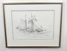 Kenneth Grant (British 20C), A sketch of a tallship or Schooner . Pencil on paper, signed and