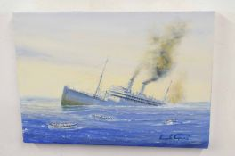 Kenneth Grant (British 20C), 3 seascapes, including the sinking of a cruise ship . Oil on canvas.