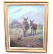 J. G. Mace (British 20C), Portrait of two donkeys in a field with a clutch of chickens nearby. Oil