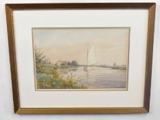 William Edward Mayes (British 20C) A Broadland scene . Watercolour, signed. Approx 11x16 inches.