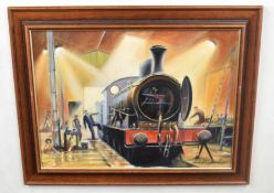 Kenneth Grant (British 20C), A steam engine in a rail yard. Oil on canvas, signed. Approx 15.5x21.