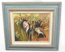 Kenneth Grant (British 20C), A study of garden birds. Oil on canvas, signed.