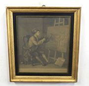 William Hogarth (British 18C), Hogarth Painting the Comic Muse . Engraving on paper . Approx