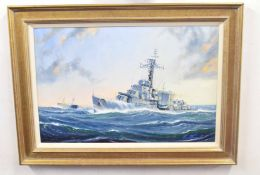 Kenneth Grant (British 20C) British WWII Warship HMS Cavalier in an offshore swell. Oil on canvas,