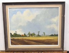 British 20C, A Norfolk landscape with a farmstead surrounding by cultivated fields . Oil on board,