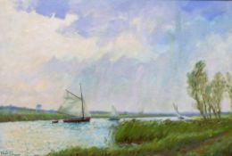 ALISTAIR KILBURN (British, 20th century), Norfolk wherries on the Broads, oil on canvas, signed,