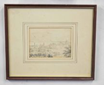 British, 20th century, A preparatory sketch of an unidentified English town, pen and wash, 5 x 6ins