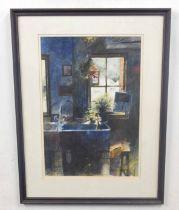 JOHN LIDZEY (British, 20th century), a contemporary interior scene, watercolour on paper, 18 x