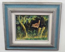 Kenneth Grant (British20C), A study of a Dunnock perched. Oil on canvas, signed. Approx 8x10