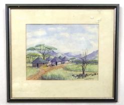 Landscape depicting a rural scene in West Africa, watercolour, indistinctly signed, 22 x 29ins
