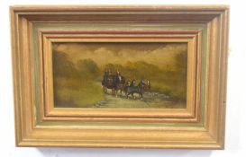 A stagecoach and horses along a turnpike, oil on canvas, indistinctly signed, 3 x 7ins