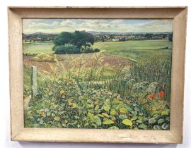 After Sir Stanley Spencer, Country landscape, coloured print, printed The Medici Society, 42 x 56cm