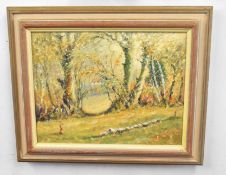 Kenneth Grant (British 20C), A English Auntum landscape . Oil on canvas, signed. Approx 13x18