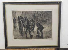 Horace Tuck (British 20C), A monochromatic genre scene of Men working from a horse and cart .