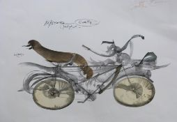 An unusual abstract print of a pushbike . Giclée on card, inscribed in pencil and indistinctly