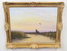 DEREK LYNES (British, 20th century), A Norfolk landscape, oil on canvas, signed, 16 x 19ins