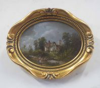 British, 19th century, Pair of rural landscapes, each with staffage, oval, oil on board, unsigned,