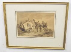 JOHN THISTLE (British, 19th century), A hillside stone cottage with staffage, monotone, watercolour,