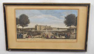 After Hyacinthe Rigaud (French 18C), A view of the palace of Chantilli, taken from the principal