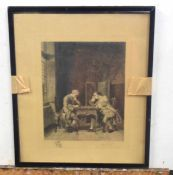 A 19C or later etching of 'The Chess Players'. Inscribed and indistinctly signed. Approx 11x9