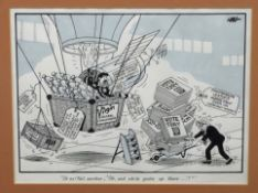 """Tony Hall (British 20C), A political cartoon with the caption """"Oh no! Not another, 'Oh, and while"""
