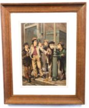 After JOHN GEORGE BROWN (British, 19th century), 'The first cigar', street urchins smoking cigars,
