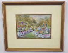 Ellen Warrington British 20C, An English Summer Garden. Watercolour on paper, signed. Approx 7x10