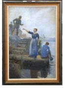 Continental School early 20 Century, World War I interest; a young mother gestures towards a