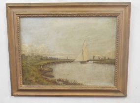 British, 20th century, A Norfolk wherry, oil on canvas, unsigned, 12 x 16ins