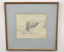 HENRY BRIGHT (British, 19th century), A preparatory study of a brook, pencil on paper, signed, 7 x